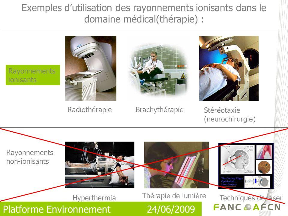 Exemples d'utilisation des rayonnements ionisants dans le domaine médical(thérapie) :