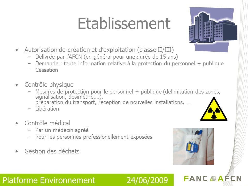 Etablissement Autorisation de création et d'exploitation (classe II/III) Délivrée par l'AFCN (en général pour une durée de 15 ans)