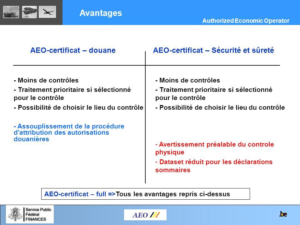 Avantages AEO-certificat – douane AEO-certificat – Sécurité et sûreté