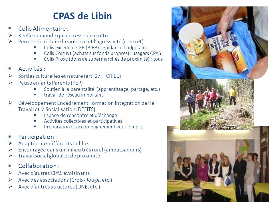 CPAS de Libin Colis Alimentaire : Activités : Participation :