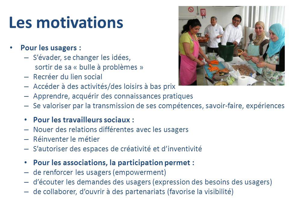 Les motivations Pour les usagers : Pour les travailleurs sociaux :