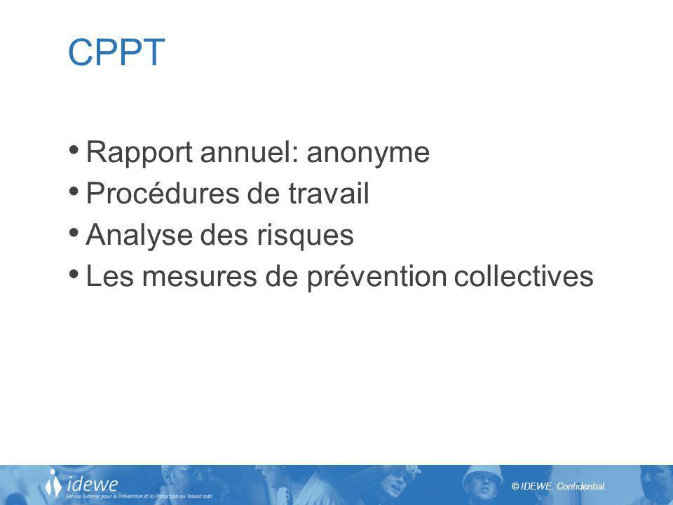 CPPT Rapport annuel: anonyme Procédures de travail Analyse des risques