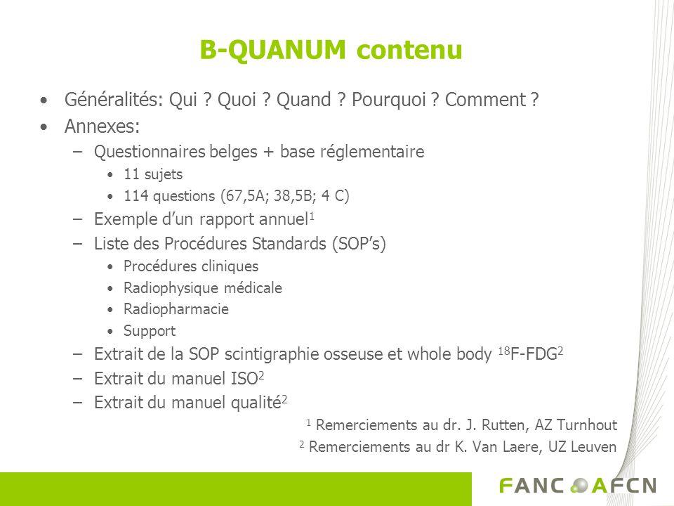 B-QUANUM contenu Généralités: Qui Quoi Quand Pourquoi Comment Annexes: Questionnaires belges + base réglementaire.
