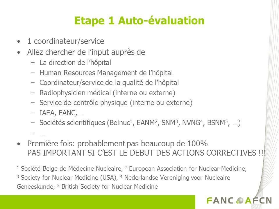 Etape 1 Auto-évaluation