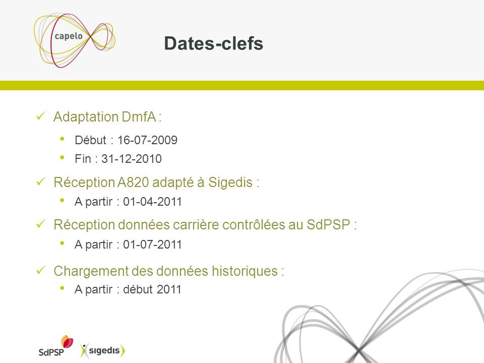 Dates-clefs Adaptation DmfA : Réception A820 adapté à Sigedis :