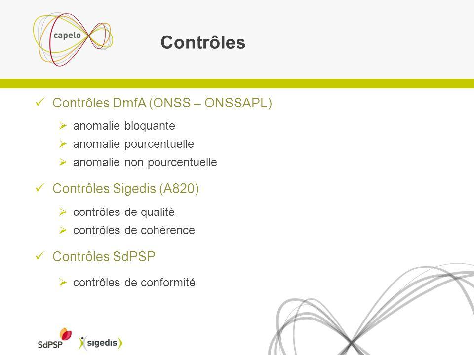Contrôles Contrôles DmfA (ONSS – ONSSAPL) Contrôles Sigedis (A820)