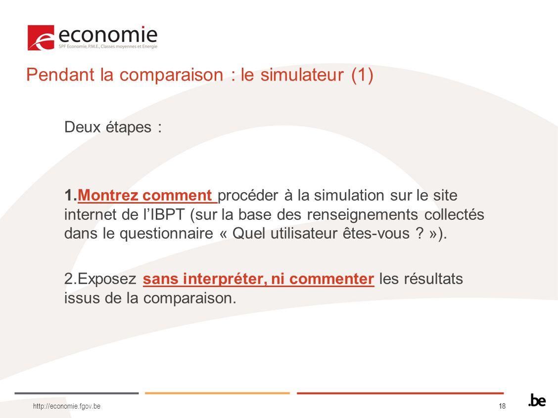 Pendant la comparaison : le simulateur (1)
