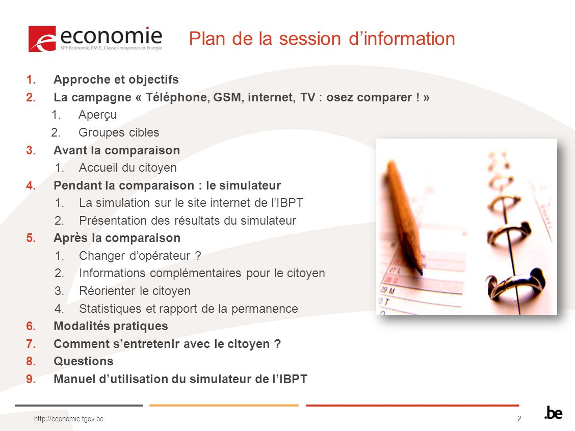 Plan de la session d'information