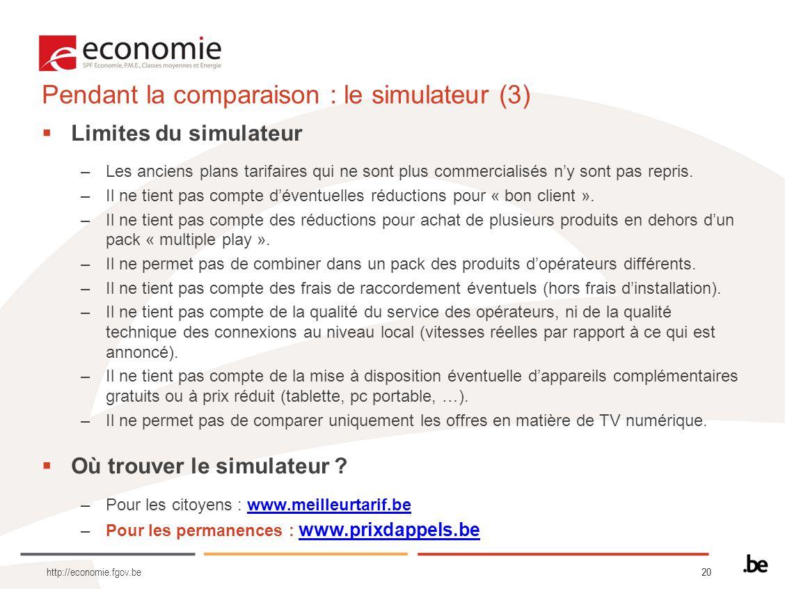 Pendant la comparaison : le simulateur (3)