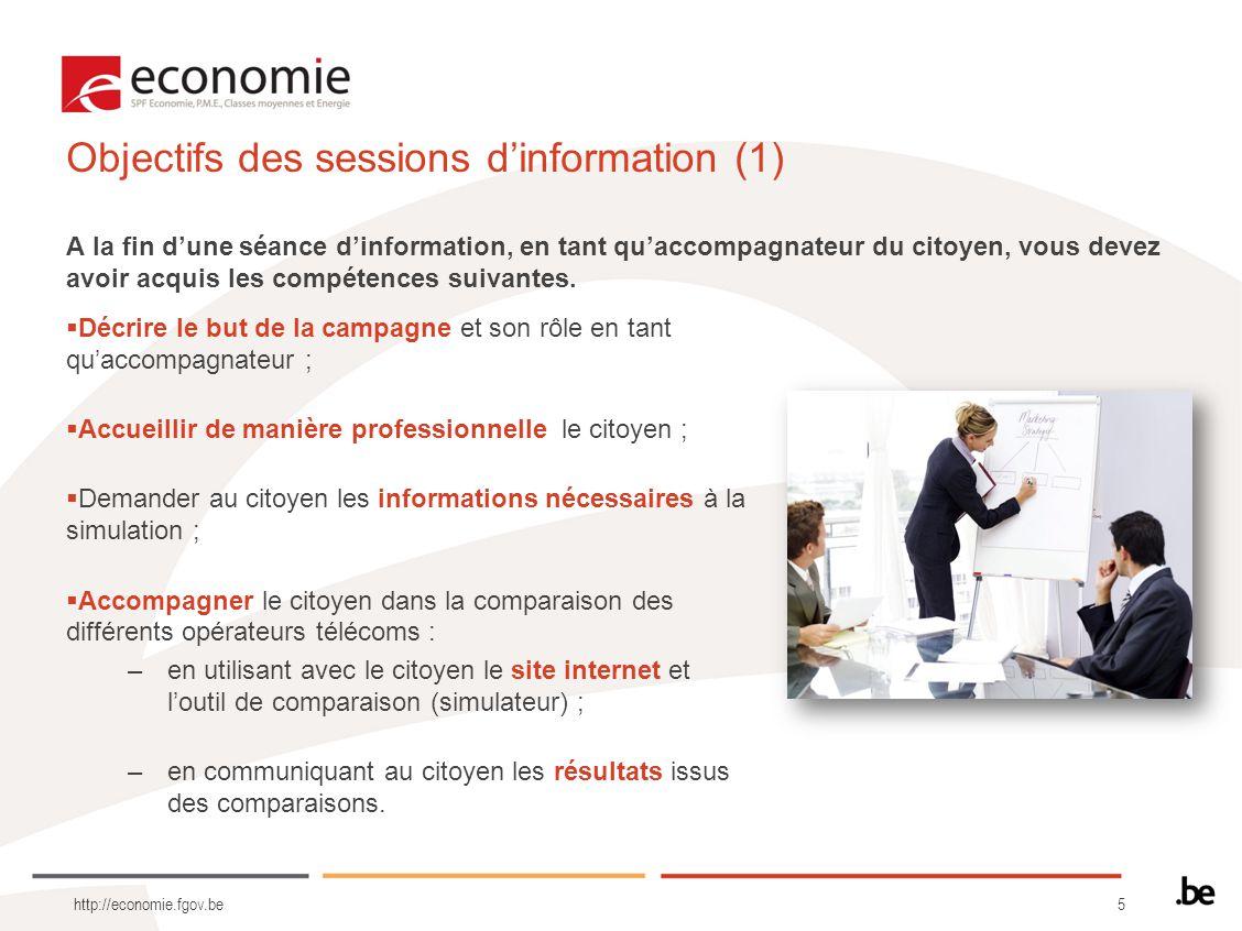 Objectifs des sessions d'information (1)