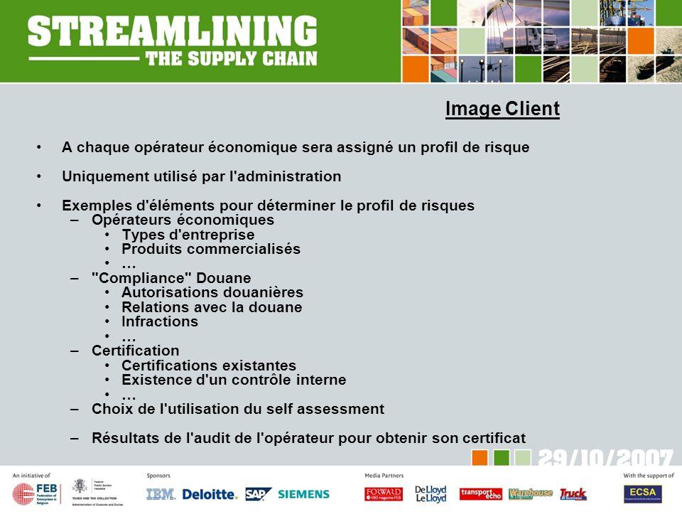 Image Client A chaque opérateur économique sera assigné un profil de risque. Uniquement utilisé par l administration.