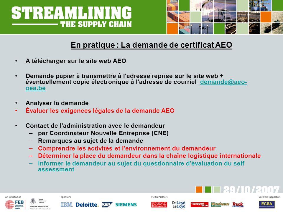 En pratique : La demande de certificat AEO