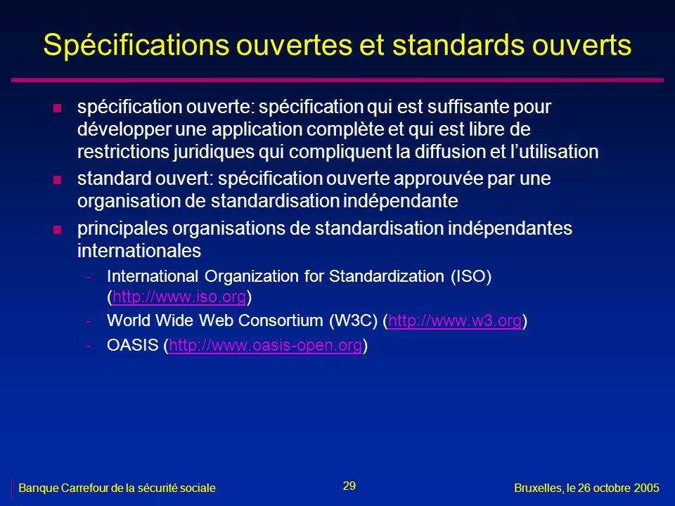 Spécifications ouvertes et standards ouverts