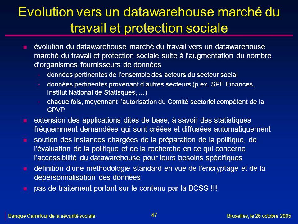 Evolution vers un datawarehouse marché du travail et protection sociale