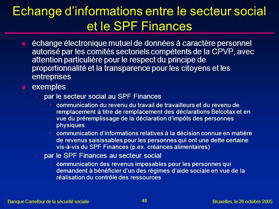 Echange d'informations entre le secteur social et le SPF Finances