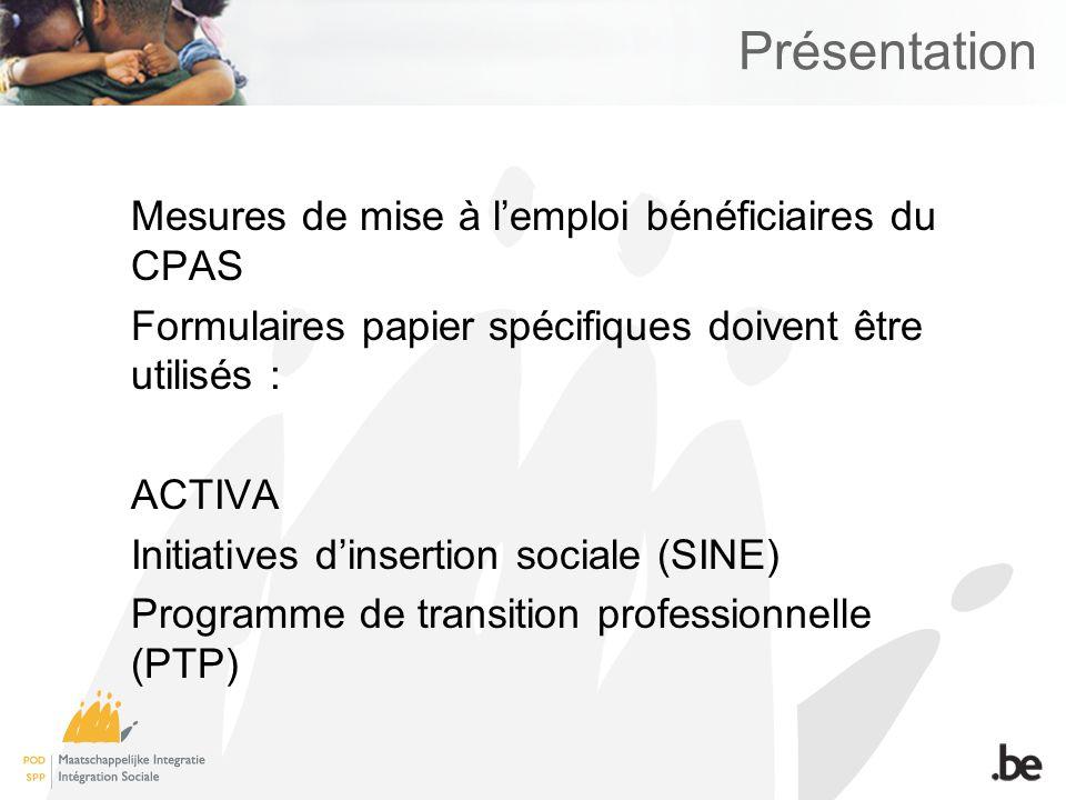 Présentation Mesures de mise à l'emploi bénéficiaires du CPAS