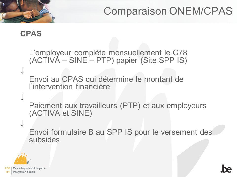 Comparaison ONEM/CPAS