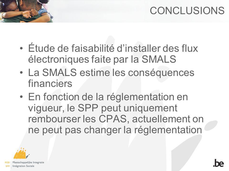 CONCLUSIONS Étude de faisabilité d'installer des flux électroniques faite par la SMALS. La SMALS estime les conséquences financiers.