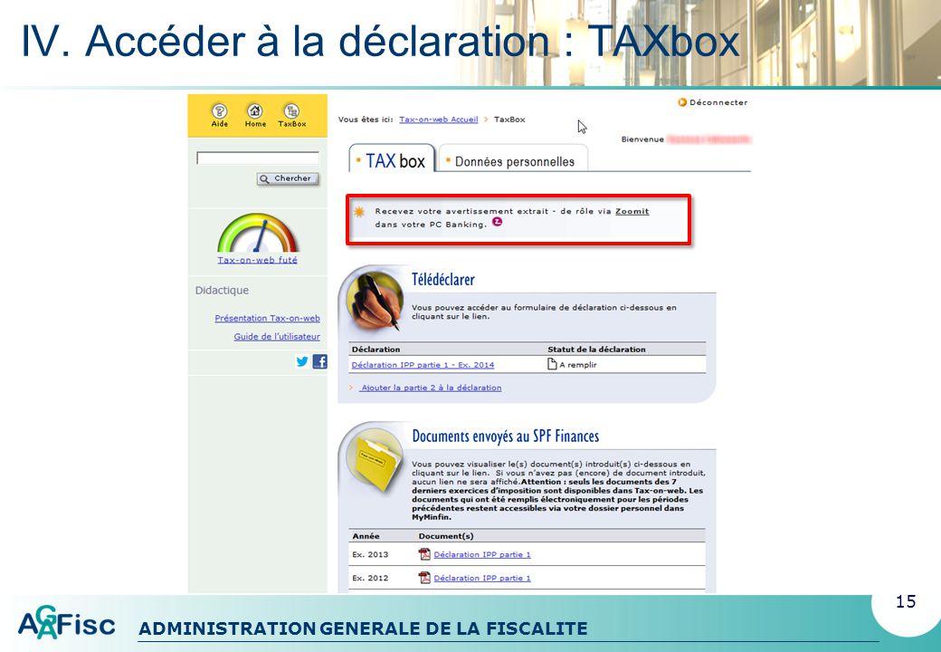IV. Accéder à la déclaration : TAXbox