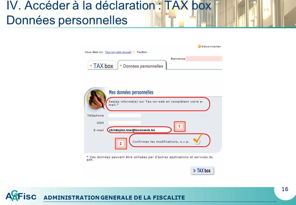 IV. Accéder à la déclaration : TAX box Données personnelles