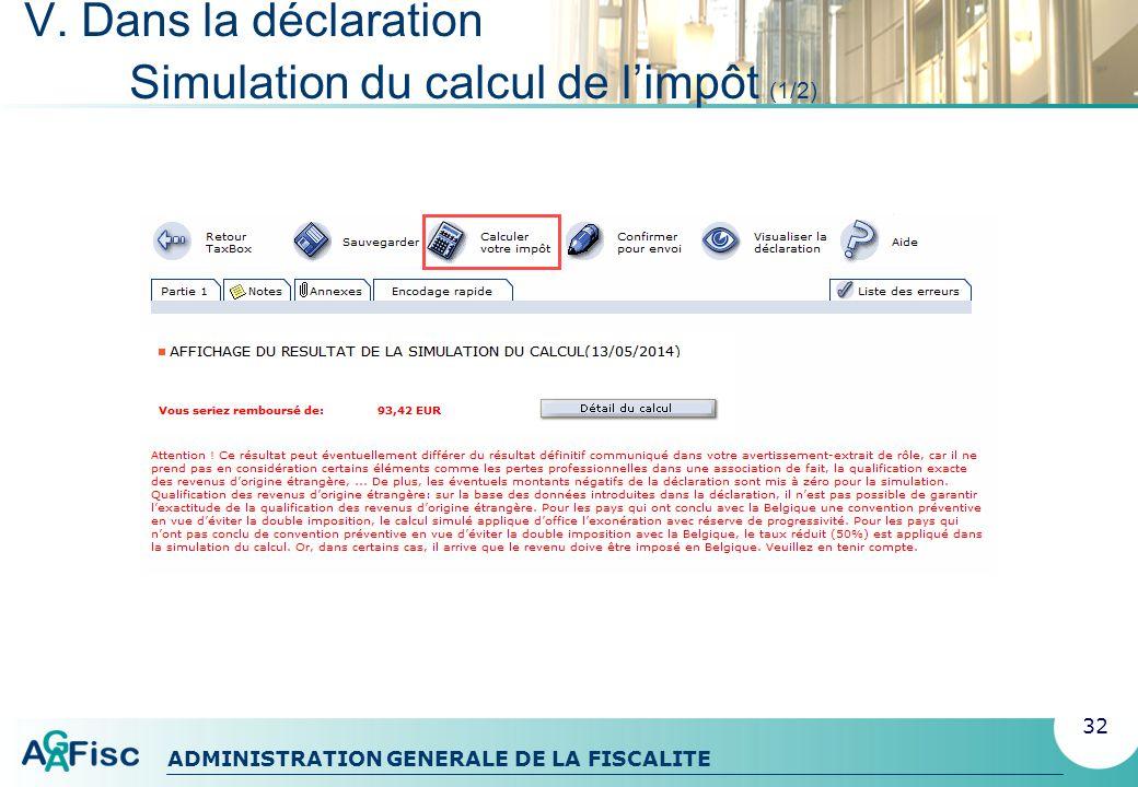 V. Dans la déclaration Simulation du calcul de l'impôt (1/2)