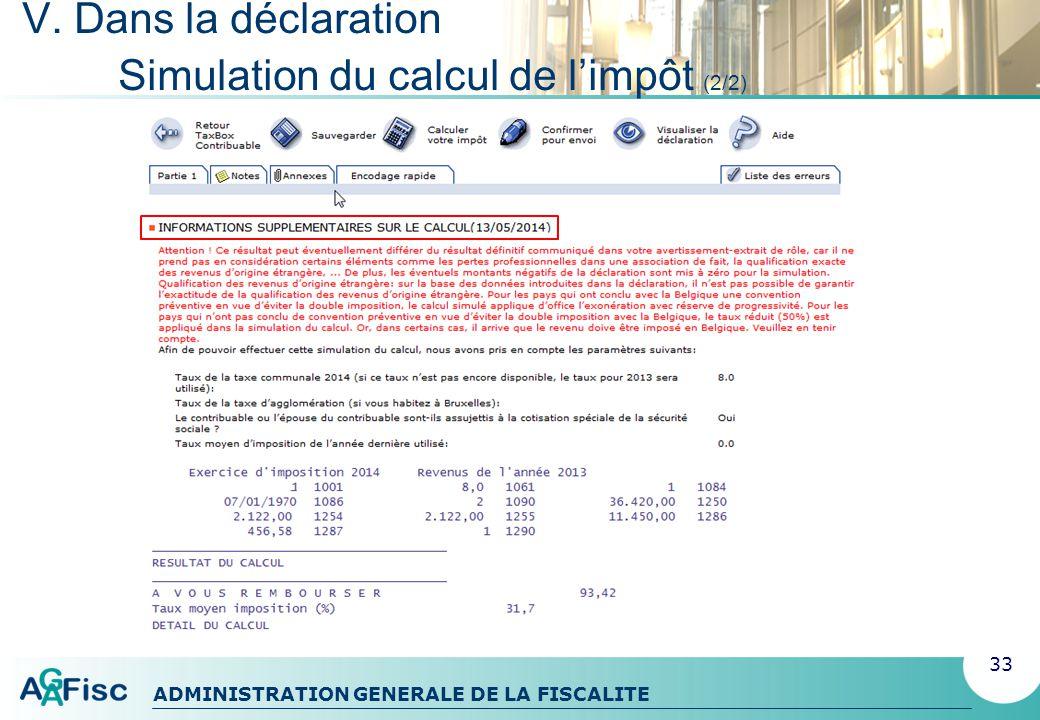 V. Dans la déclaration Simulation du calcul de l'impôt (2/2)