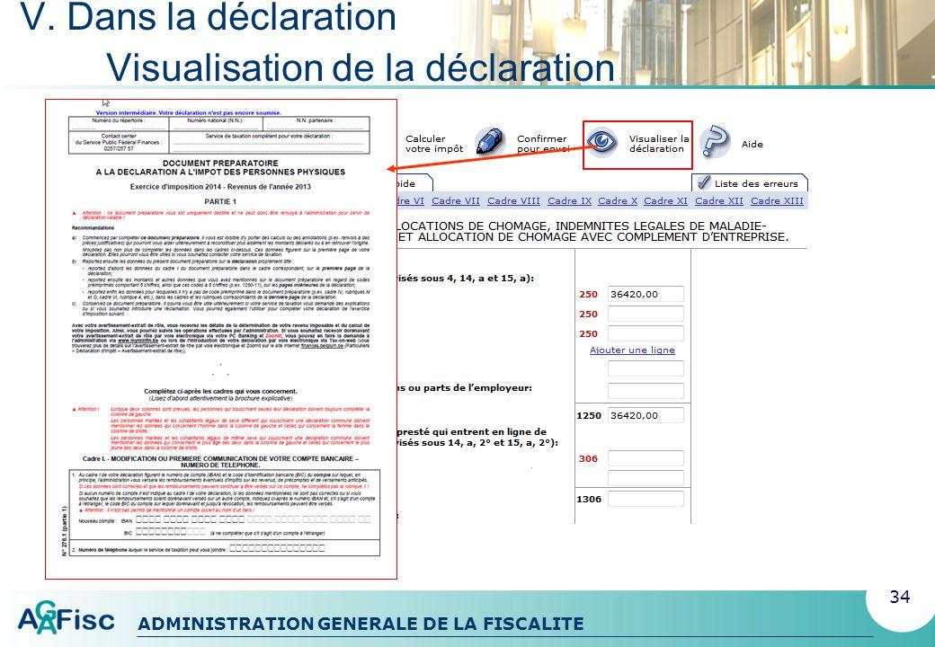V. Dans la déclaration Visualisation de la déclaration