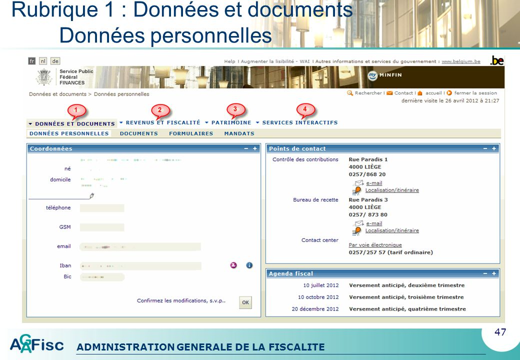 Rubrique 1 : Données et documents Données personnelles