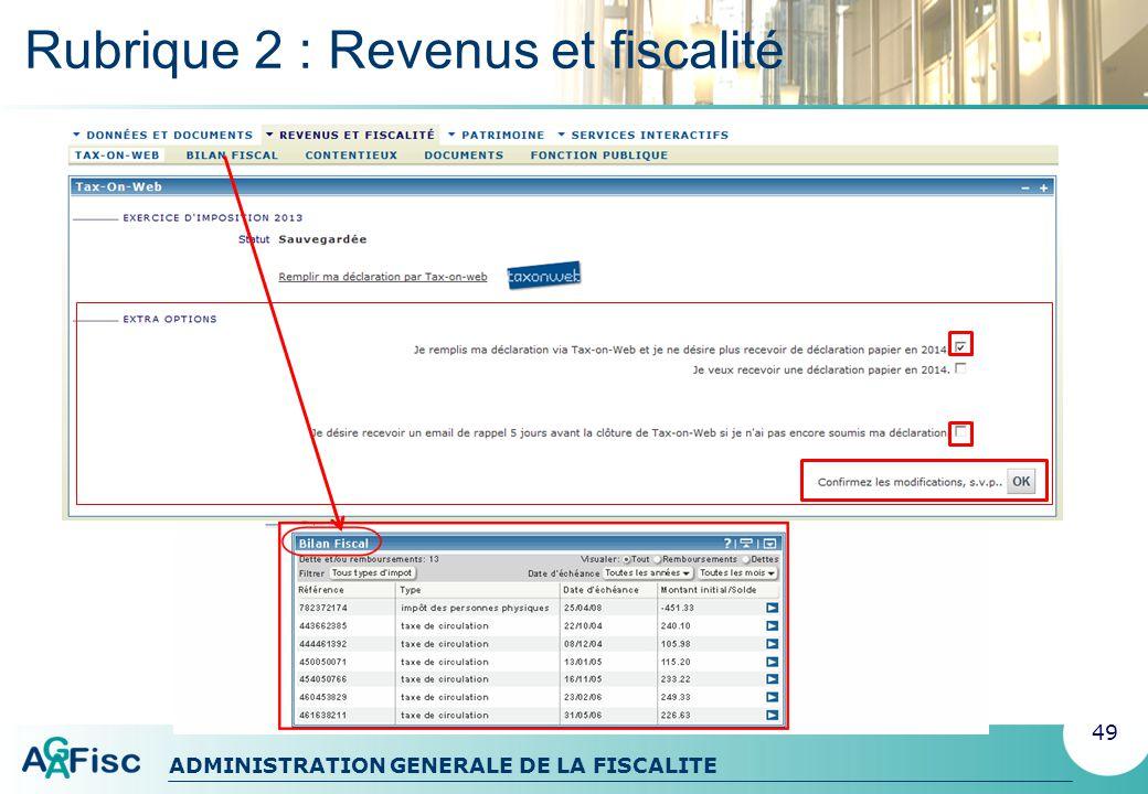 Rubrique 2 : Revenus et fiscalité