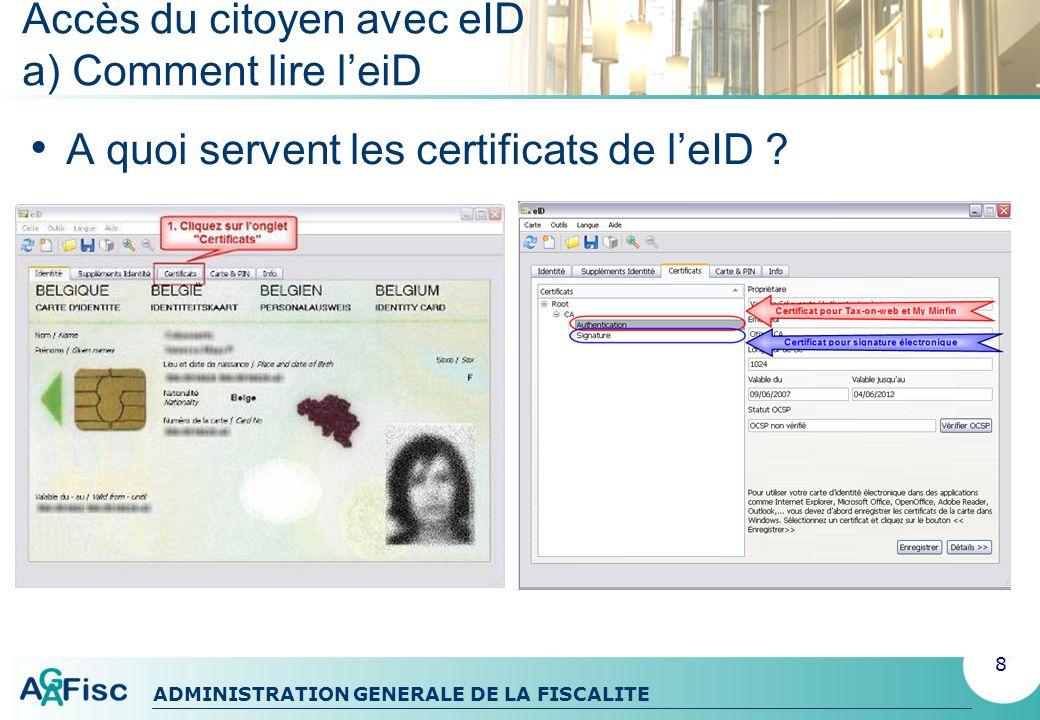 Accès du citoyen avec eID a) Comment lire l'eiD