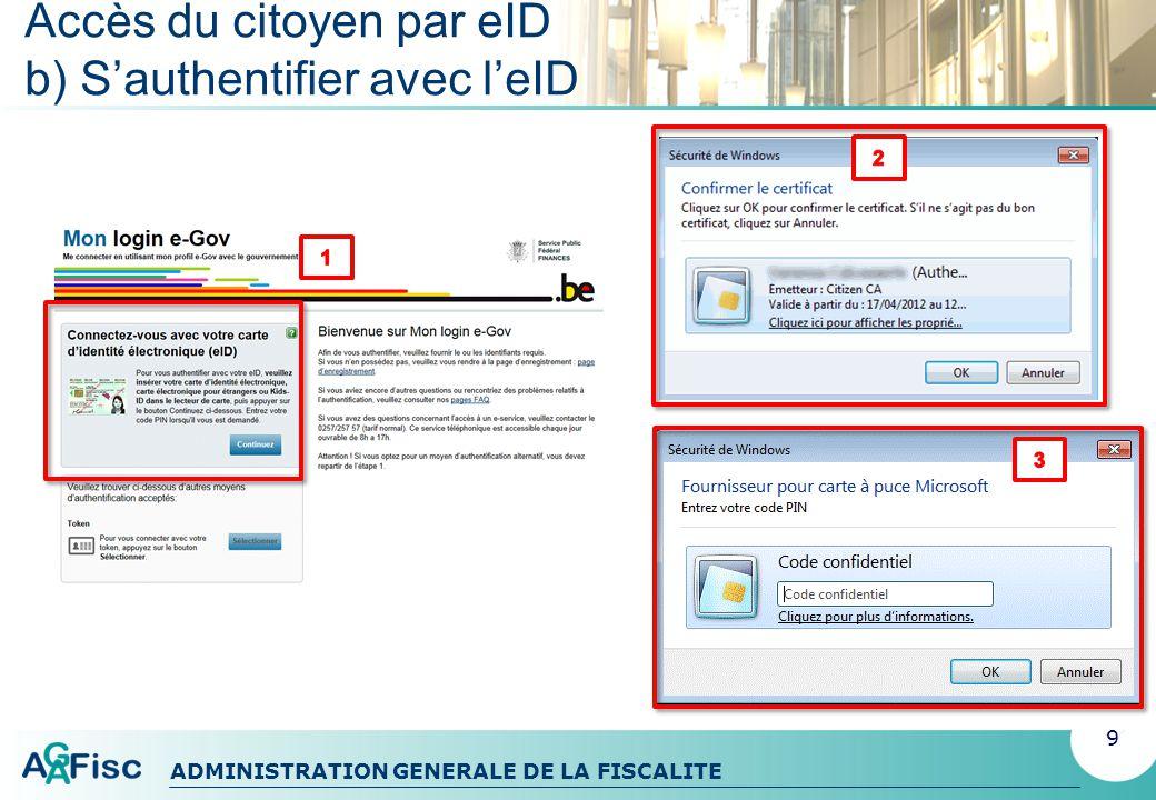 Accès du citoyen par eID b) S'authentifier avec l'eID