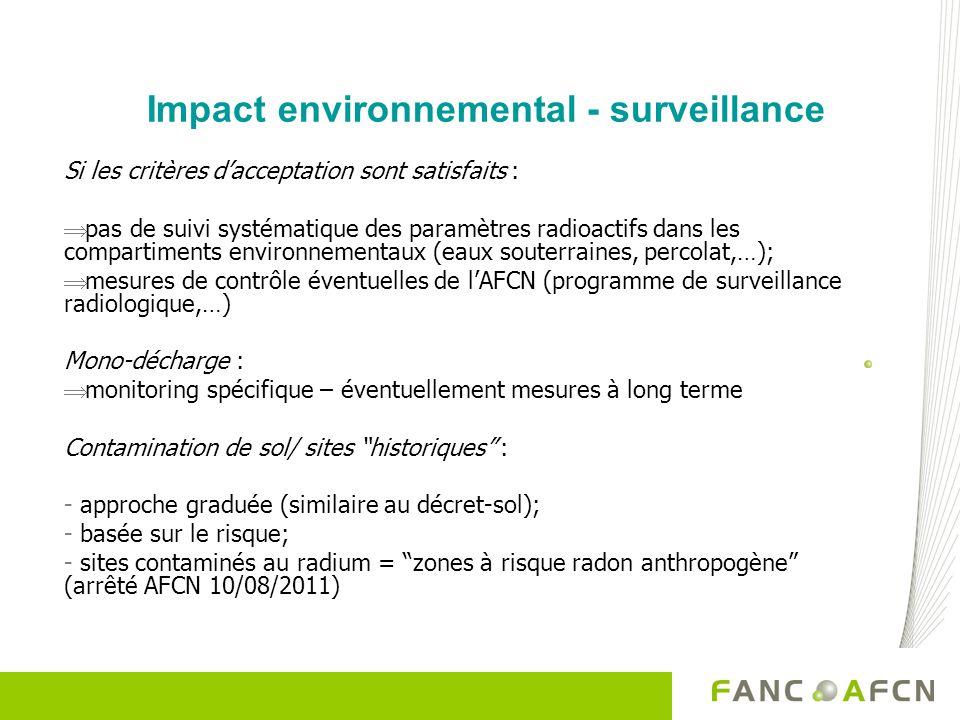 Impact environnemental - surveillance