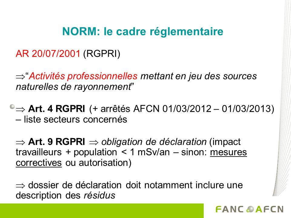 NORM: le cadre réglementaire