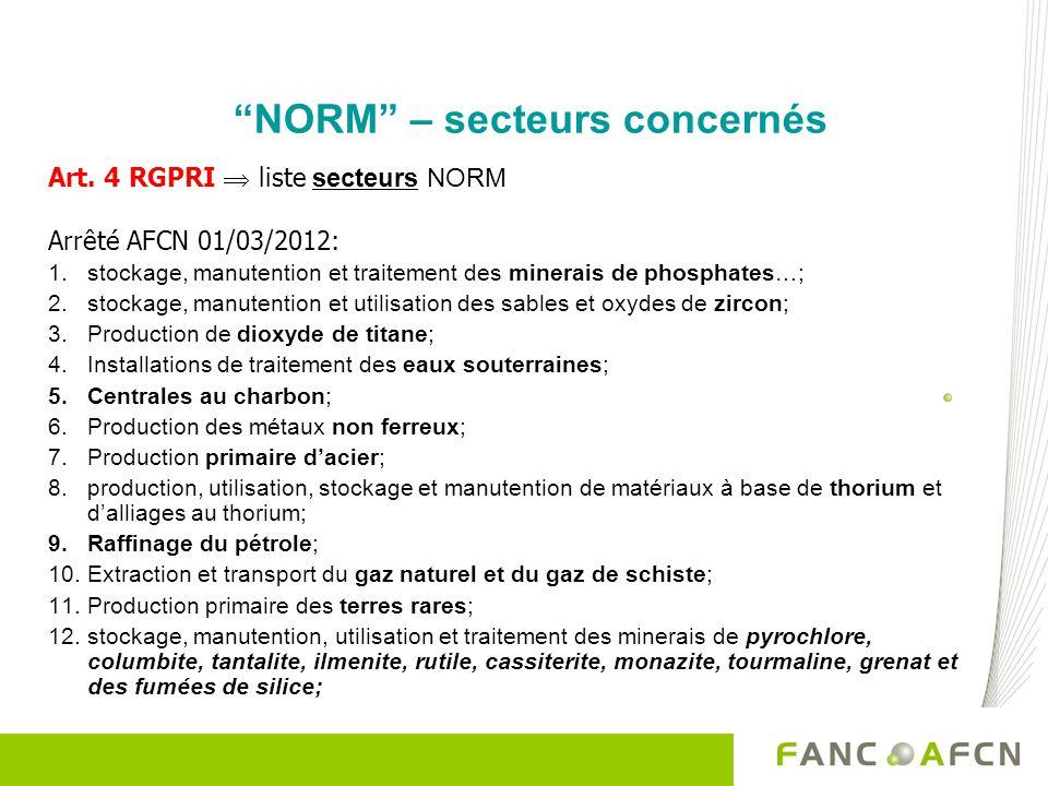 NORM – secteurs concernés