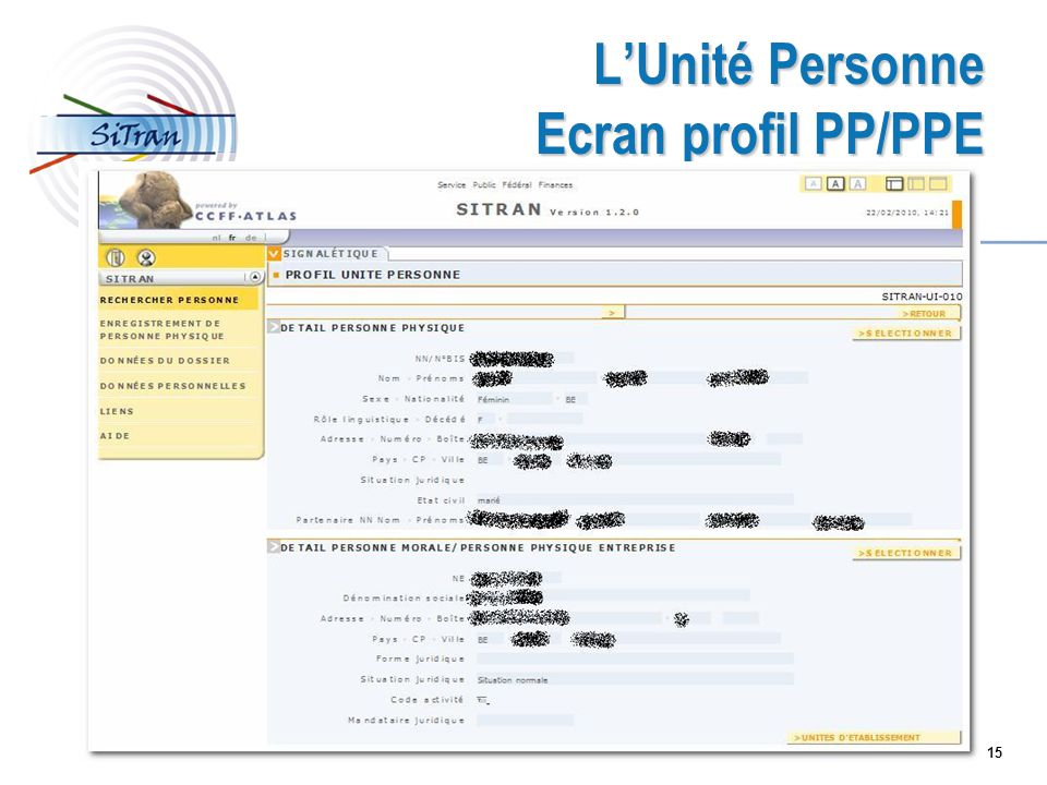 L'Unité Personne Ecran profil PP/PPE