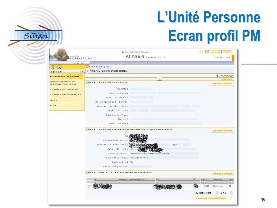 L'Unité Personne Ecran profil PM