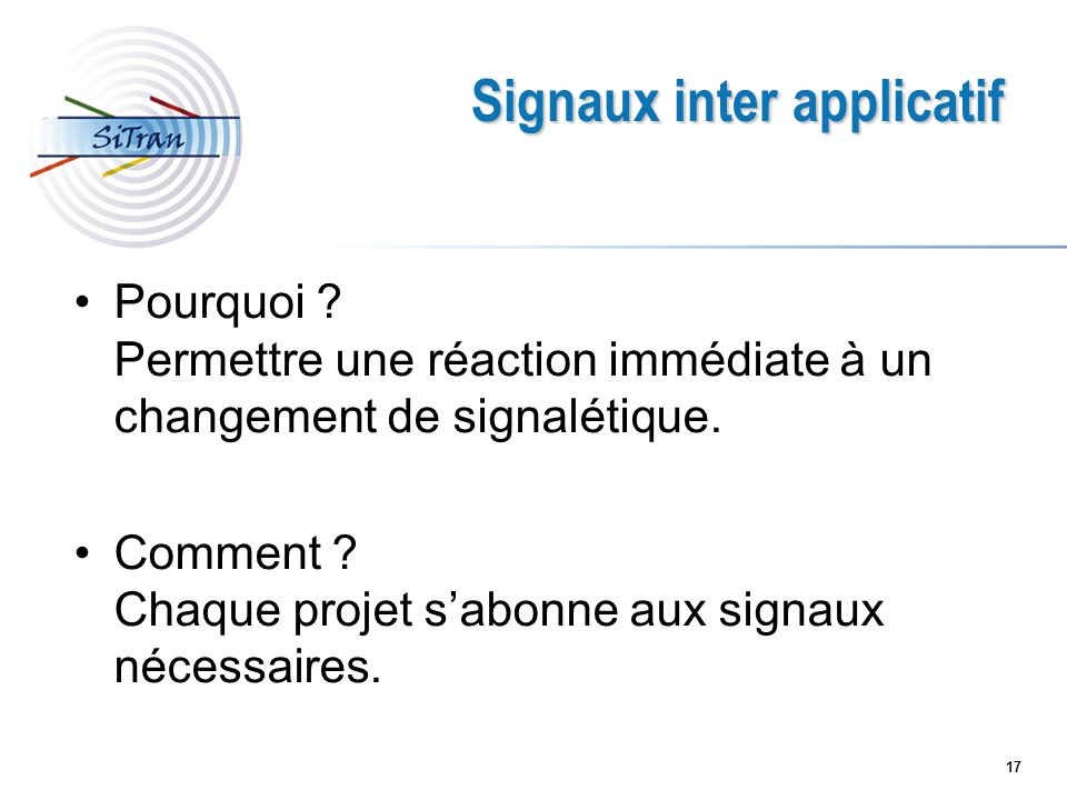 Signaux inter applicatif