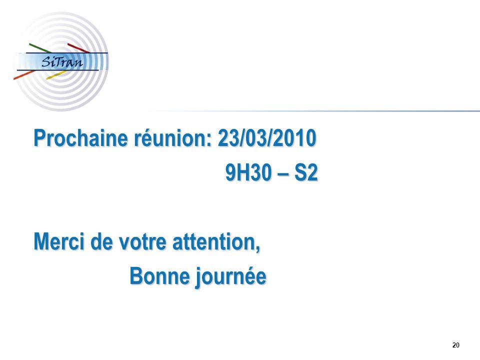Prochaine réunion: 23/03/2010 9H30 – S2 Merci de votre attention, Bonne journée