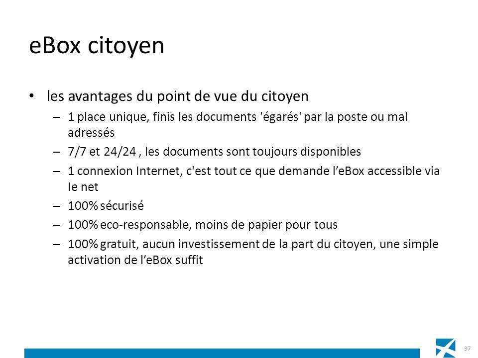 eBox citoyen les avantages du point de vue du citoyen