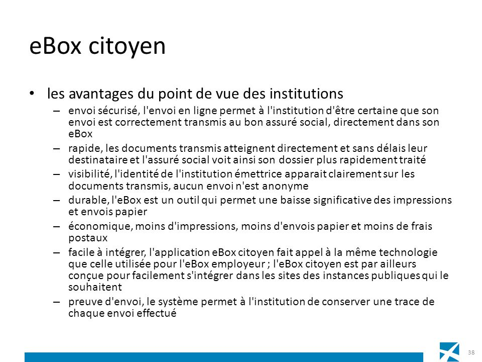 eBox citoyen les avantages du point de vue des institutions