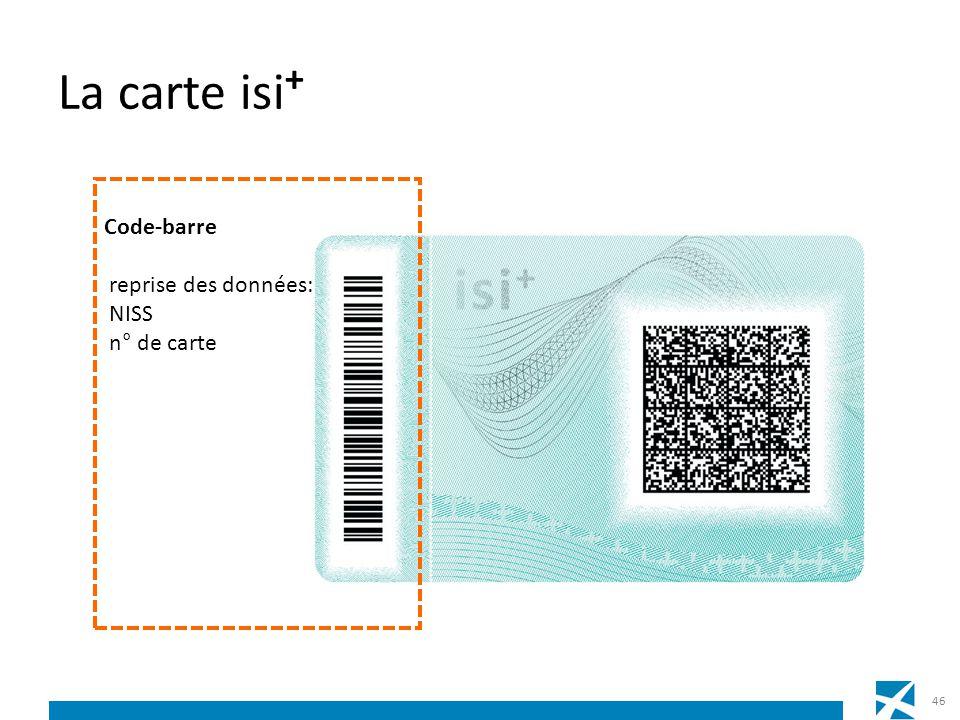 La carte isi+ Code-barre reprise des données: NISS n° de carte
