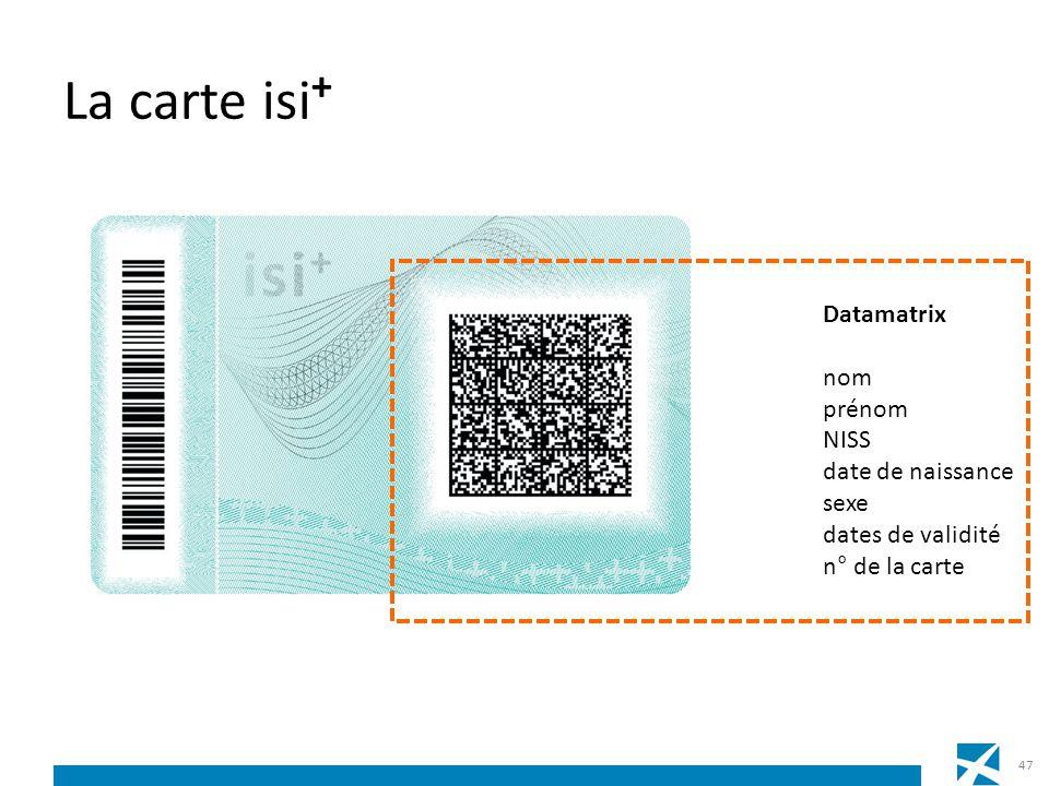 La carte isi+ Datamatrix nom prénom NISS date de naissance sexe