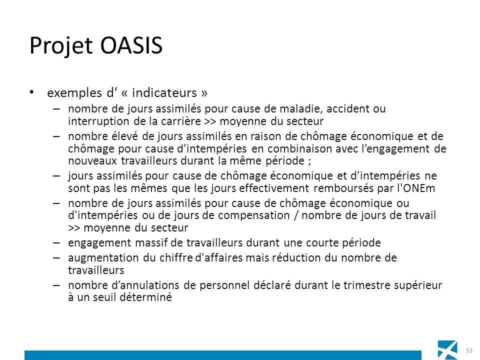 Projet OASIS exemples d' « indicateurs »