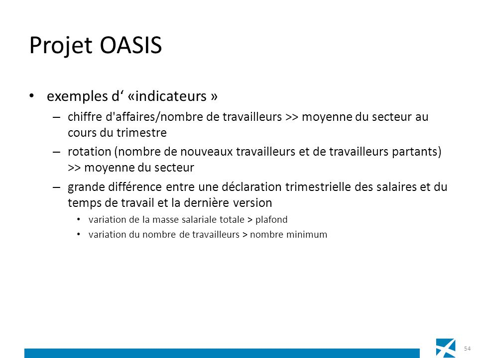 Projet OASIS exemples d' «indicateurs »