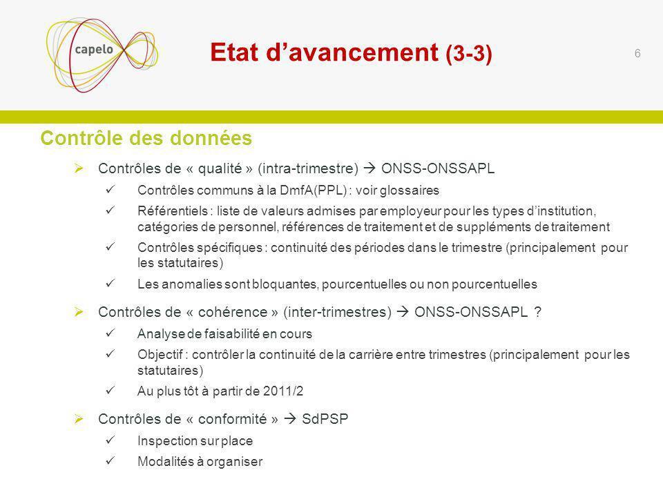 Etat d'avancement (3-3) Contrôle des données