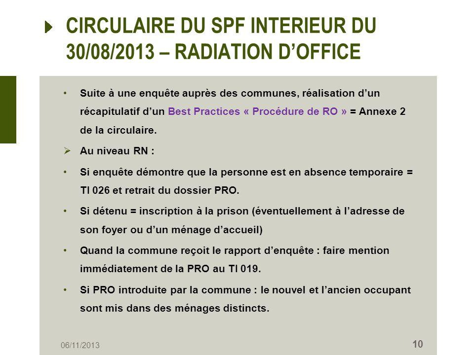 CIRCULAIRE DU SPF INTERIEUR DU 30/08/2013 – RADIATION D'OFFICE
