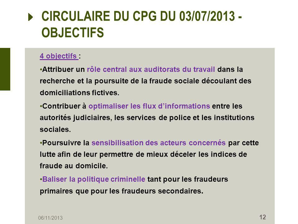 CIRCULAIRE DU CPG DU 03/07/2013 - OBJECTIFS