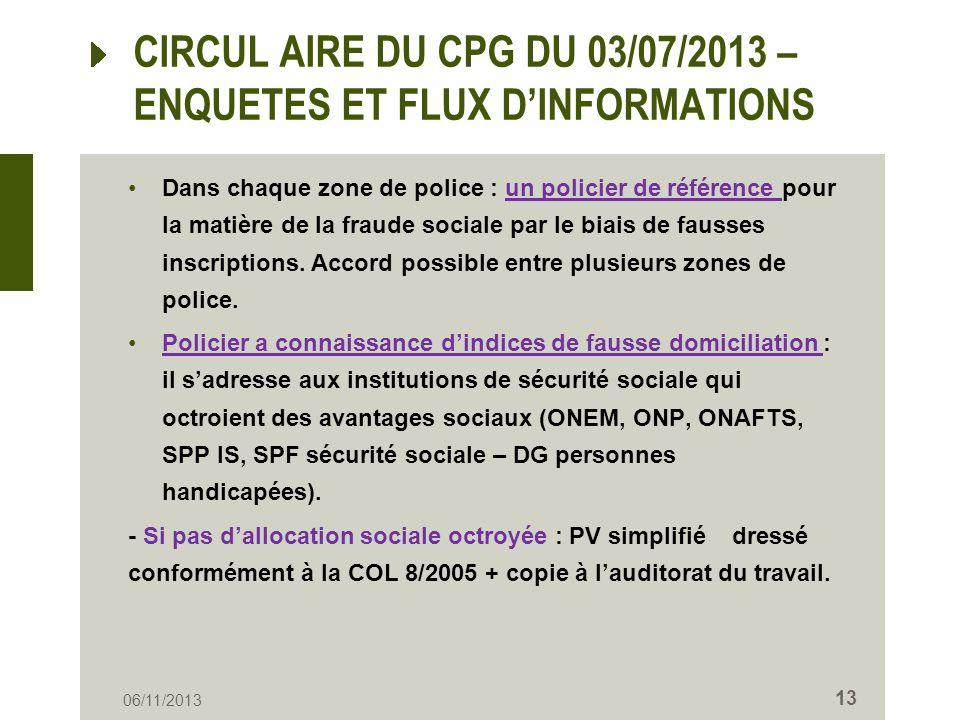 CIRCUL AIRE DU CPG DU 03/07/2013 – ENQUETES ET FLUX D'INFORMATIONS