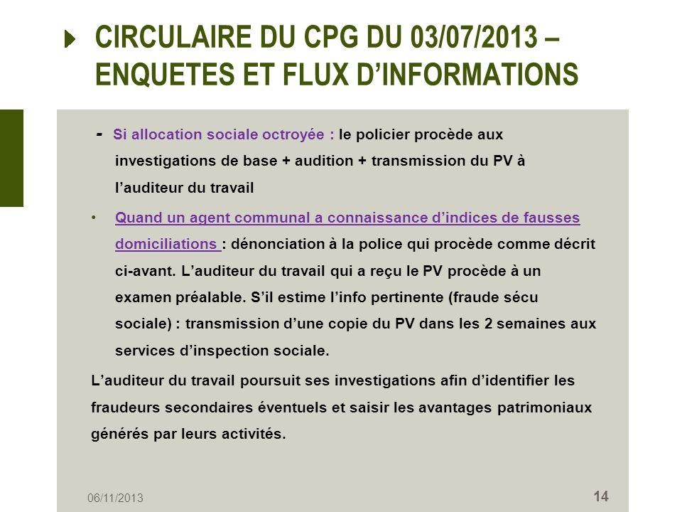 CIRCULAIRE DU CPG DU 03/07/2013 – ENQUETES ET FLUX D'INFORMATIONS