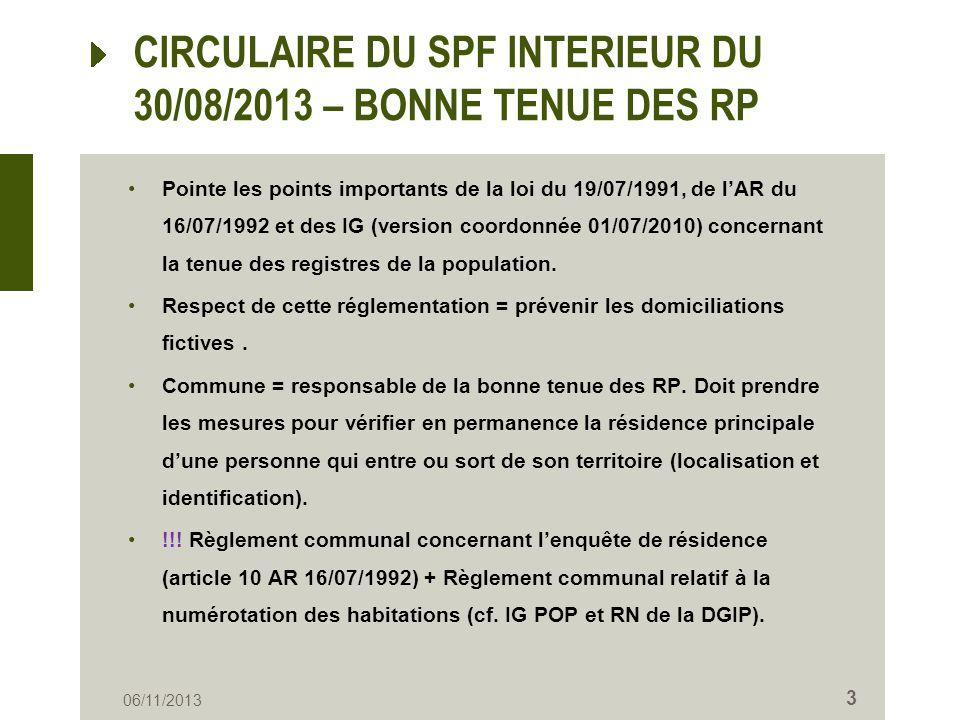 CIRCULAIRE DU SPF INTERIEUR DU 30/08/2013 – BONNE TENUE DES RP